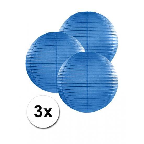 Feestartikelen diversen Geen Voordeelverpakking met 3 donker blauwe lampionnen 25 cm