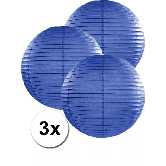 Feestartikelen diversen Geen Voordeelverpakking met 3 donker blauwe lampionnen 35 cm