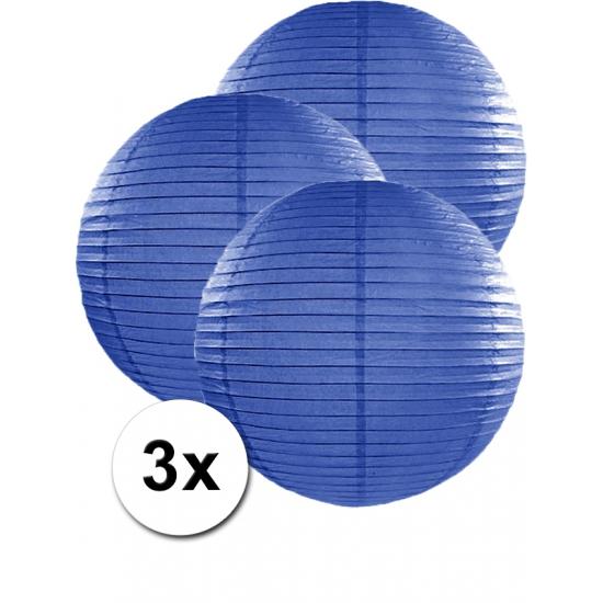 Voordeelverpakking met 3 donker blauwe lampionnen 50 cm Geen Feestartikelen diversen
