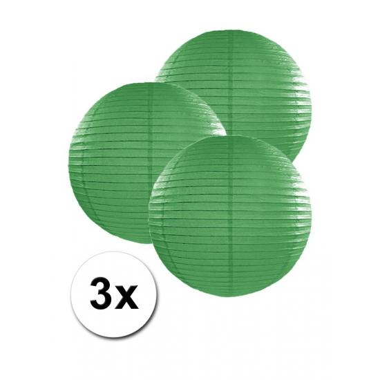 Feestartikelen diversen Voordeelverpakking met 3 donker groene lampionnen 25 cm