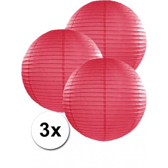 Feestartikelen diversen Geen Voordeelverpakking met 3 fuchsia lampionnen 35 cm