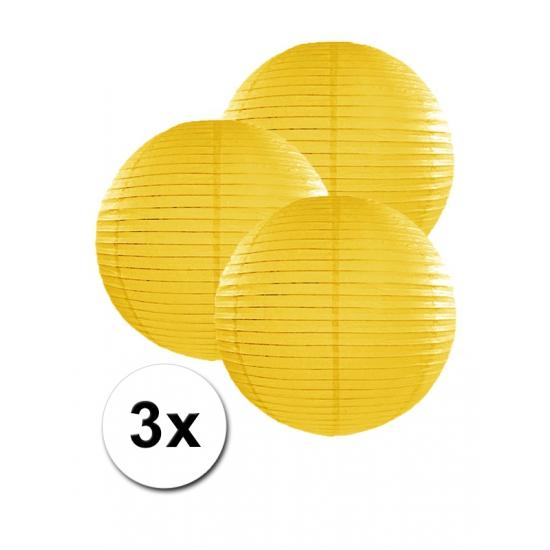 Voordeelverpakking met 3 gele lampionnen 25 cm Geen goedkoop online kopen