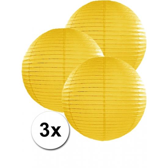 Voordeelverpakking met 3 gele lampionnen 35 cm Geen Feestartikelen diversen