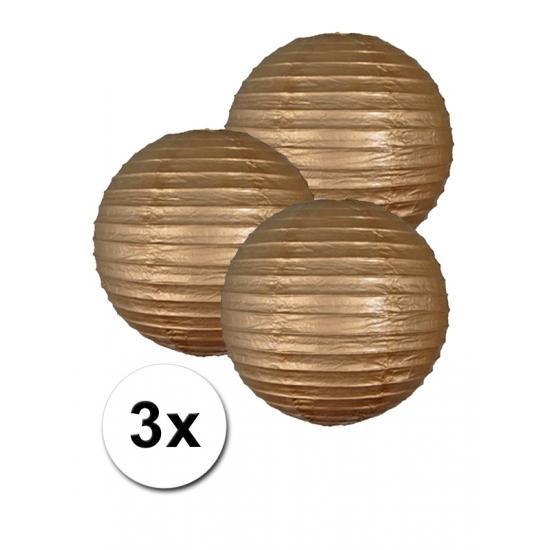 Voordeelverpakking met 3 gouden lampionnen 25 cm Geen Feestartikelen diversen