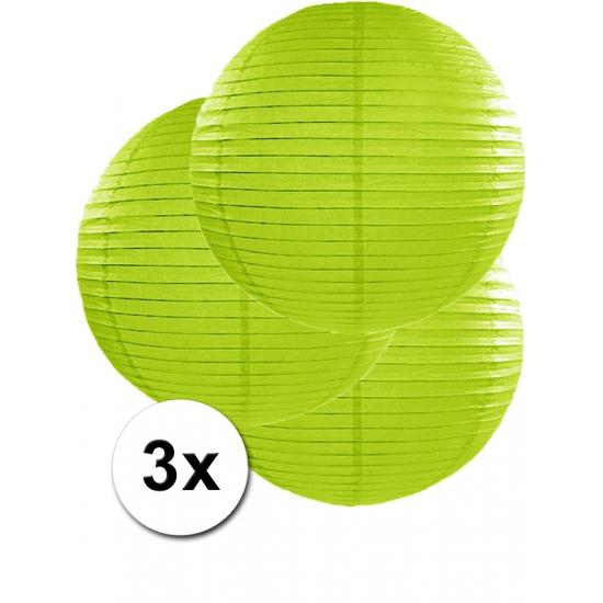 Feestartikelen diversen Geen Voordeelverpakking met 3 groene lampionnen 50 cm