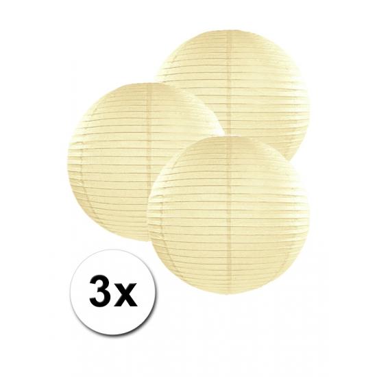 Feestartikelen diversen Geen Voordeelverpakking met 3 ivoor lampionnen 25 cm