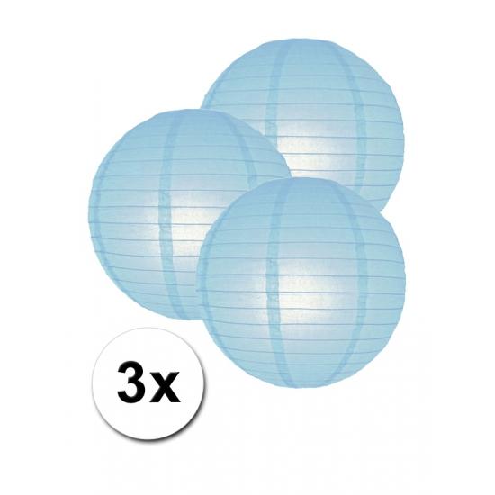 Feestartikelen diversen Geen Voordeelverpakking met 3 licht blauwe lampionnen 25 cm