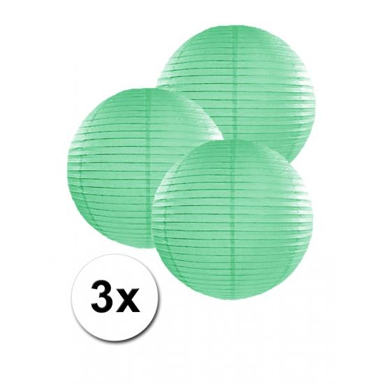 Feestartikelen diversen Geen Voordeelverpakking met 3 mint groene lampionnen 25 cm