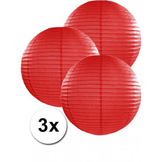 Voordeelverpakking met 3 rode lampionnen 35 cm Geen Feestartikelen diversen