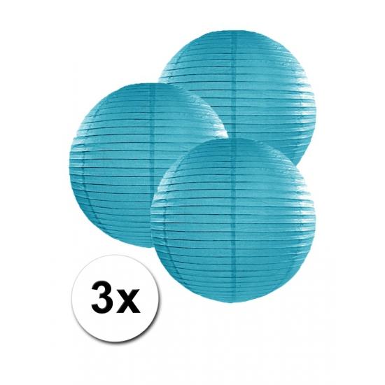 Geen Voordeelverpakking met 3 turquoise blauwe lampionnen 25 cm Feestartikelen diversen