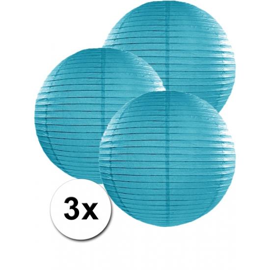 Feestartikelen diversen Voordeelverpakking met 3 turquoise blauwe lampionnen 35 cm