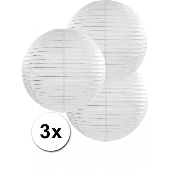 Geen Voordeelverpakking met 3 witte lampionnen 35 cm Feestartikelen diversen