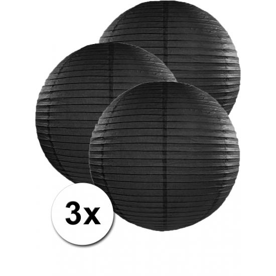 Geen Voordeelverpakking met 3 zwarte lampionnen 50 cm Feestartikelen diversen