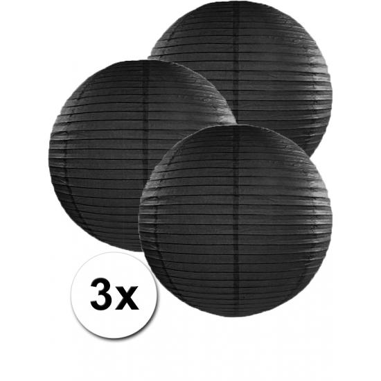 Feestartikelen diversen Geen Voordeelverpakking met 3x zwarte lampionnen 35 cm