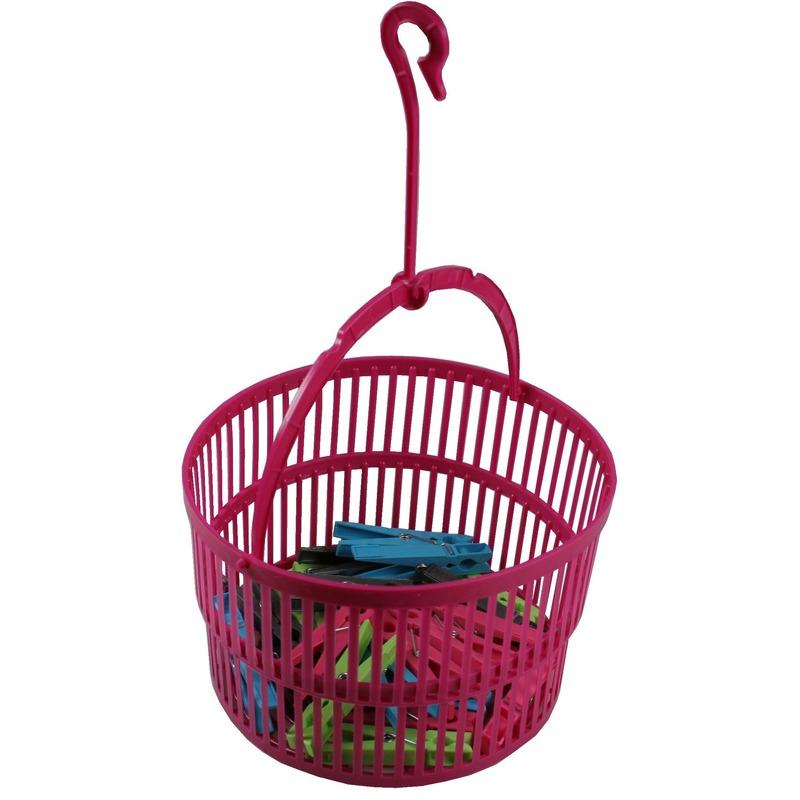 Wasknijper mandje roze met haak en 25 wasknijpers