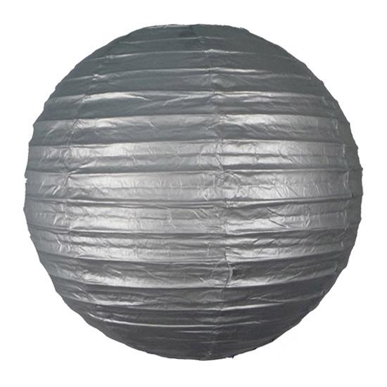 Geen Zilveren ronde lampion 25 cm Feestartikelen diversen