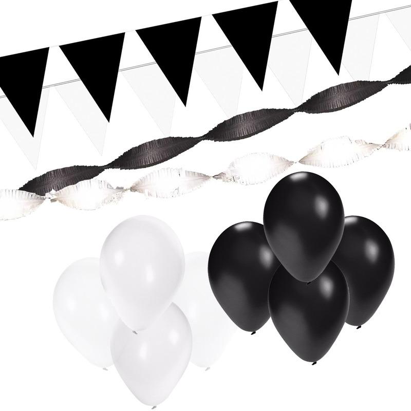 Zwart-Witte feest versiering pakket XL