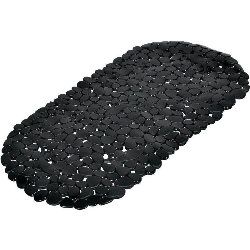 Zwarte anti-slip badmat 36 x 69 cm ovaal
