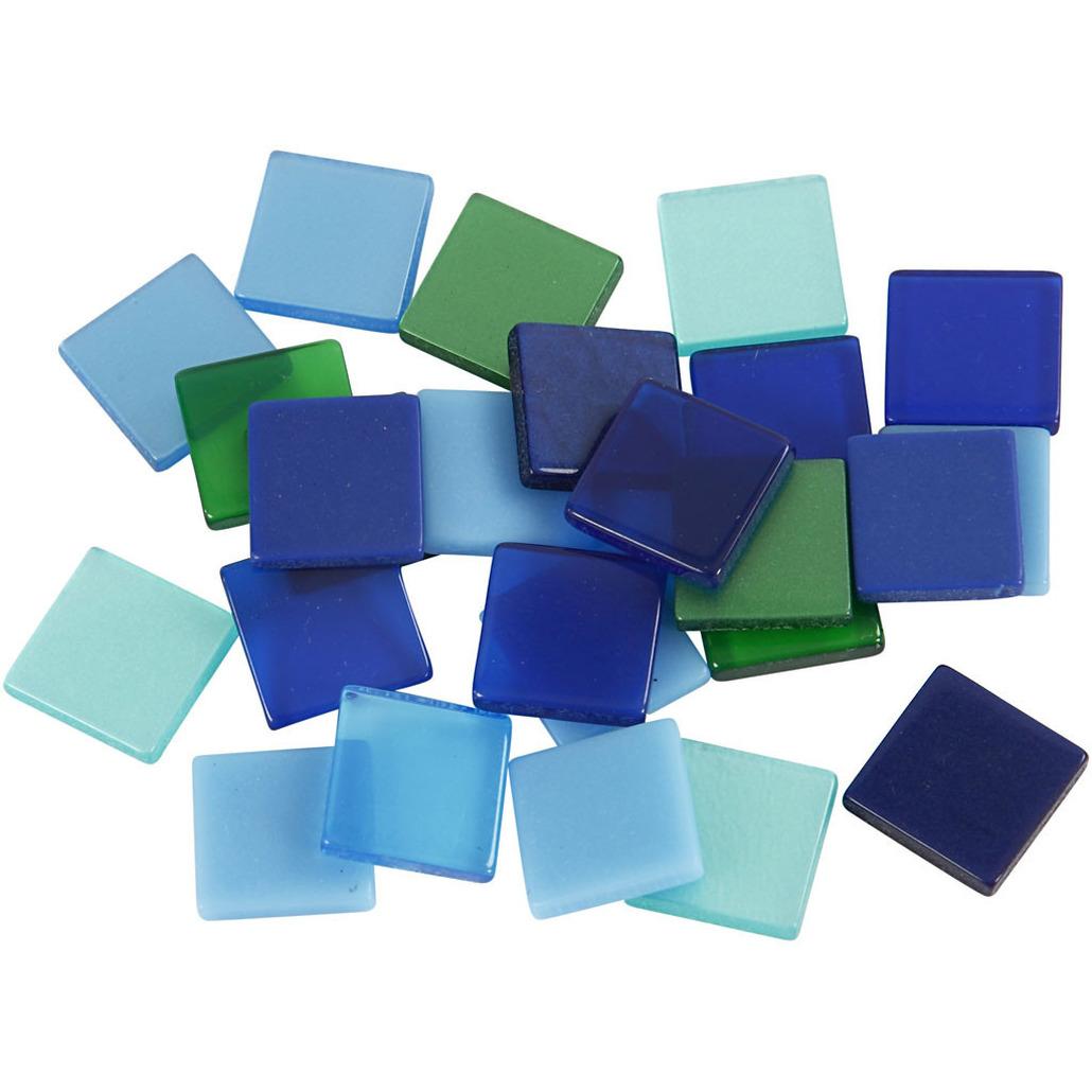 100x Mozaiek tegels kunsthars groen-blauw 10 x 10 mm