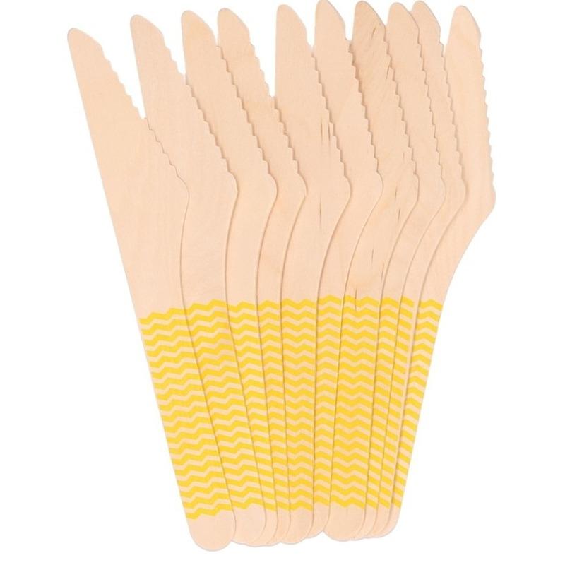 10x Houten duurzame wegwerp messen gele stippen 16 cm