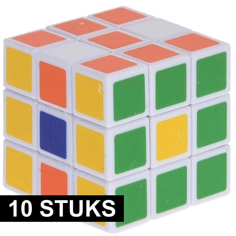 10x Magische kubus puzzel spelletjes 3,5 cm speelgoed