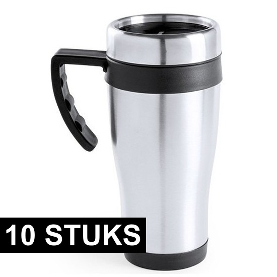 10x RVS thermosbekers-warm houd bekers zwart 500 ml