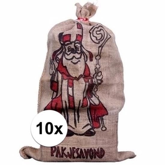 10x Sinterklaas zakken van jute 60 x 102 cm Cadeau /feestartikelen/thema-feestartikelen/sinterklaas/sinterklaas-inpakmaterialen/sinterklaas-cadeau-kado-zakken
