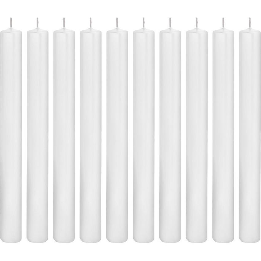 10x Witte dinerkaarsen 25 cm 14 branduren