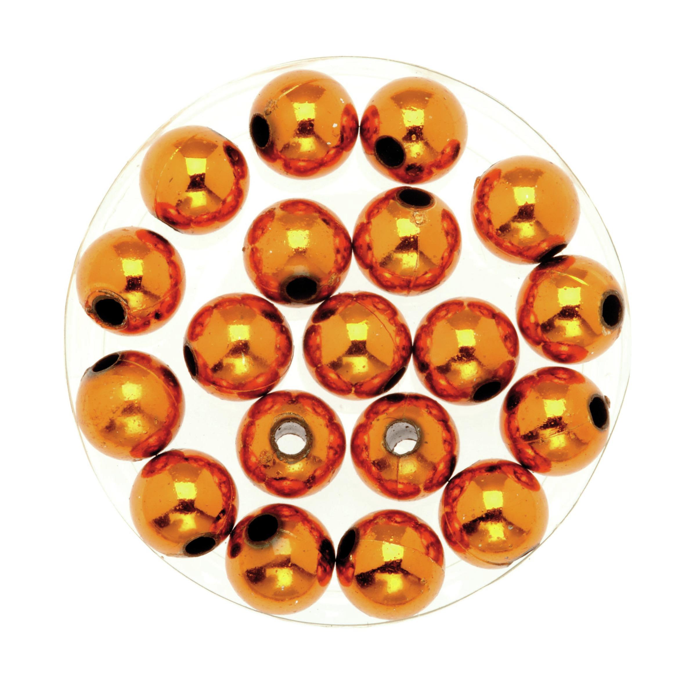 120x stuks sieraden maken glans deco kralen in het oranje van 10 mm