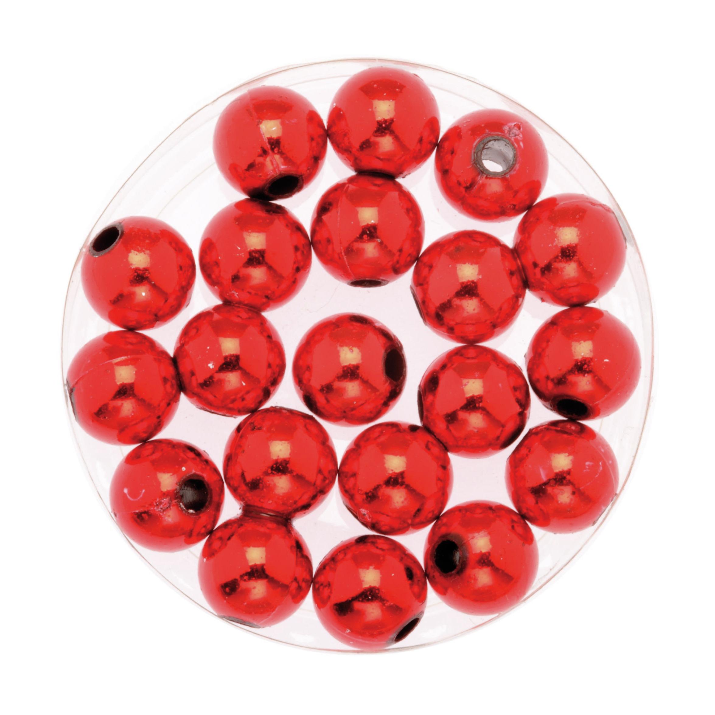120x stuks sieraden maken glans deco kralen in het rood van 10 mm