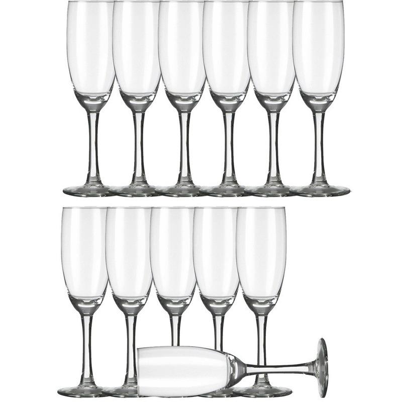 12x Champagneglazen-flutes transparant 170 ml Claret