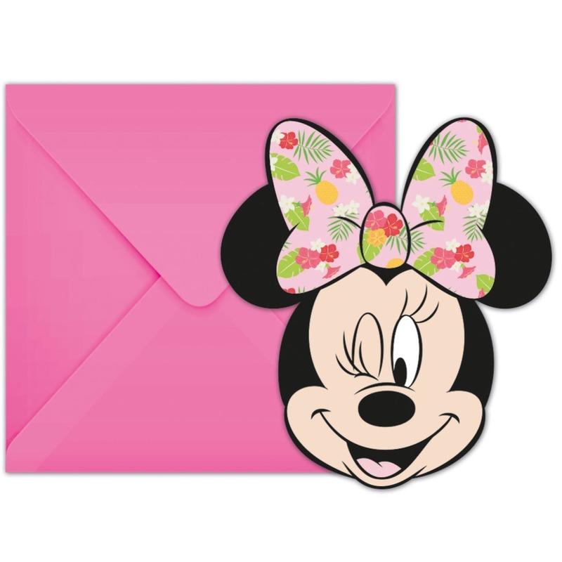 12x Disney Minnie Mouse tropical themafeest uitnodigingen 7 cm