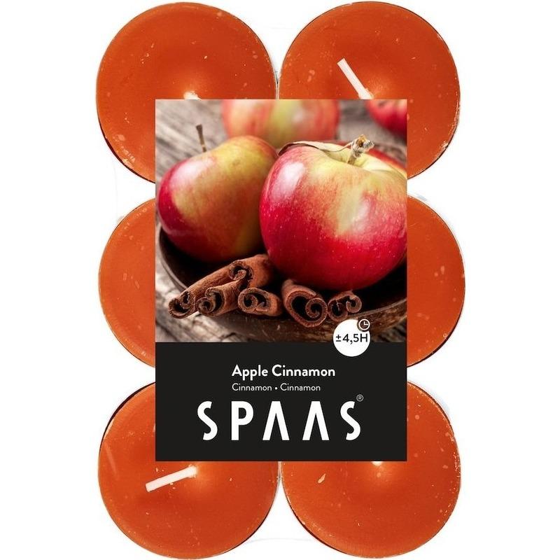 12x Geurtheelichtjes Apple Cinnamon-oranje 4,5 branduren
