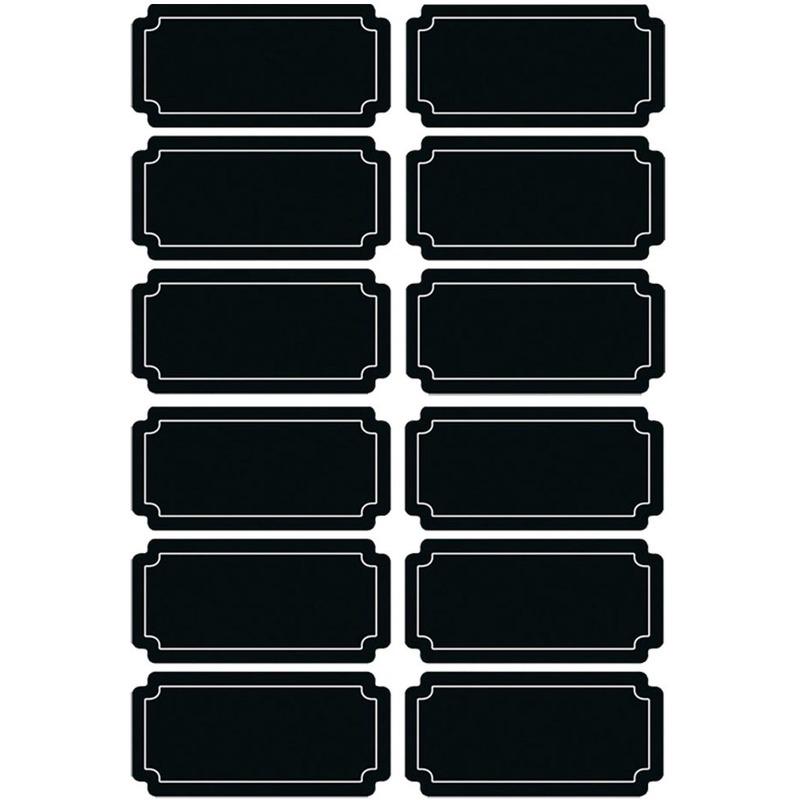 12x Krijtbord voorraadkast etiketten-stickers rechthoekig