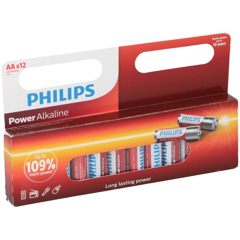 12x Philips AA batterijen power alkaline 1.5 V