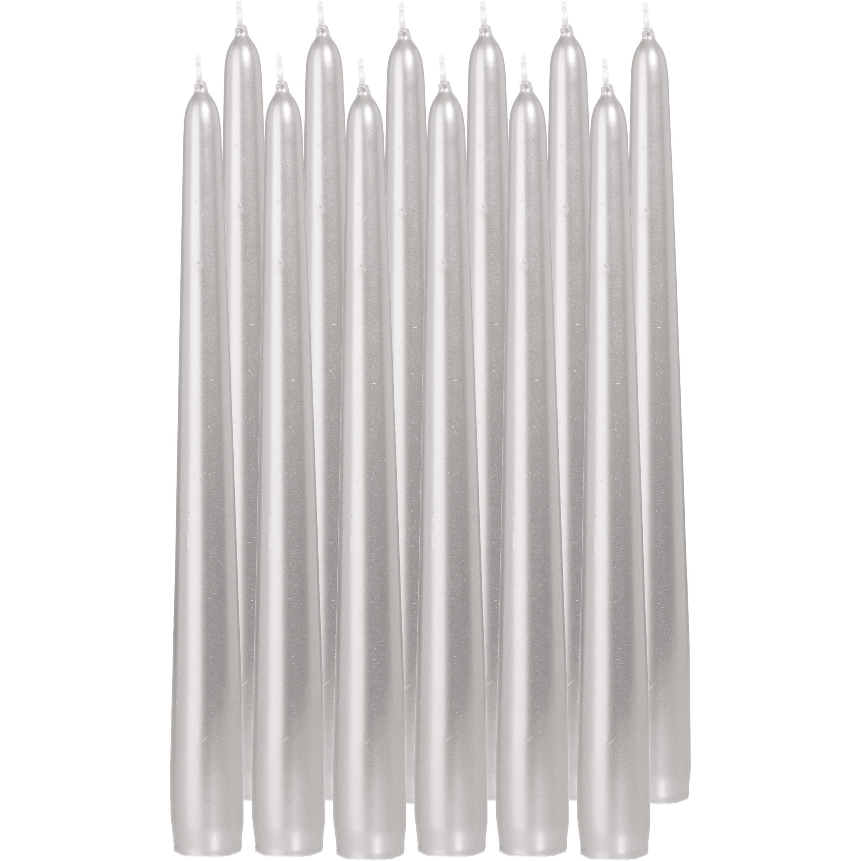12x Zilveren dinerkaarsen 25 cm 8 branduren