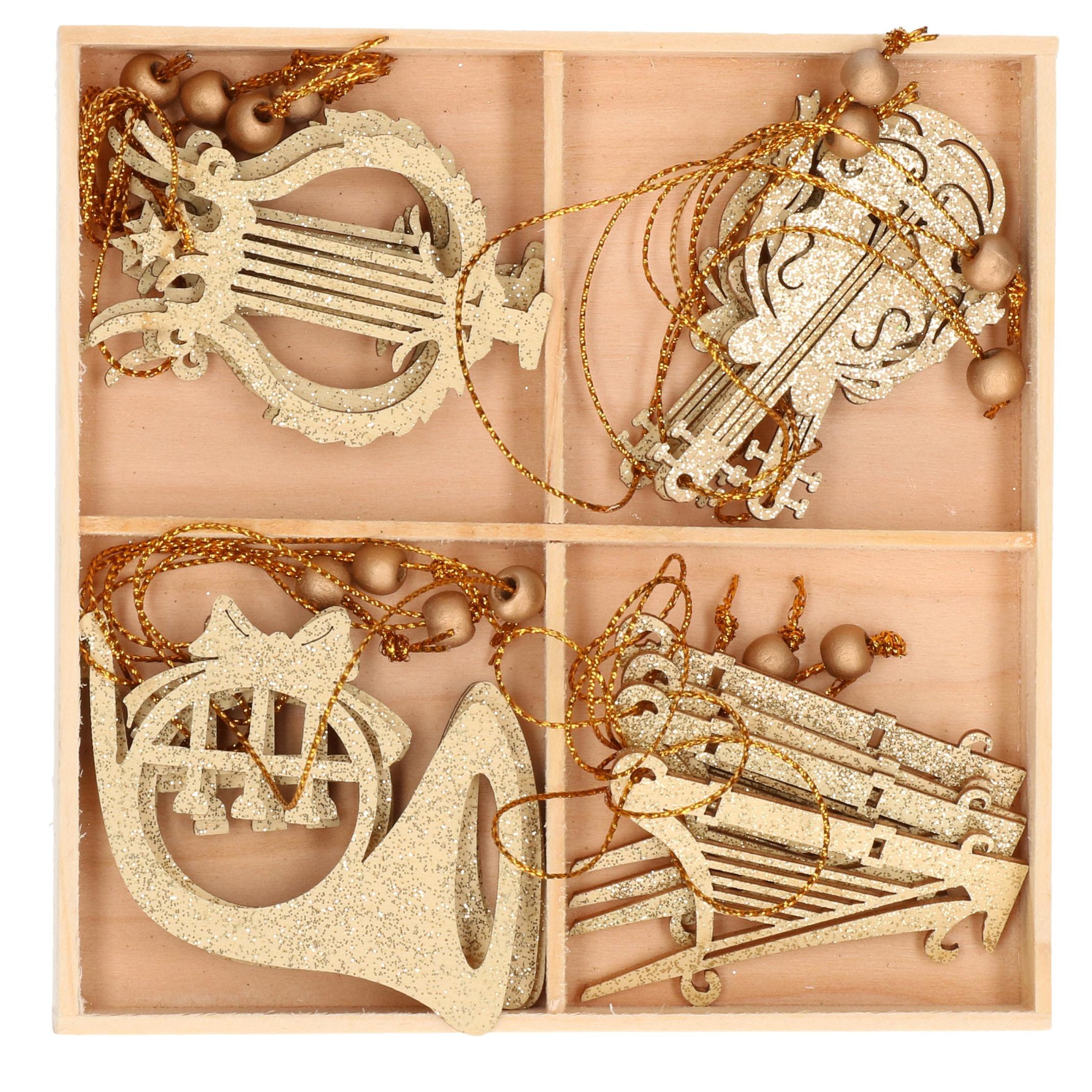 16x Houten kersthangers muziekinstrumenten ornamenten goud 6-7 cm