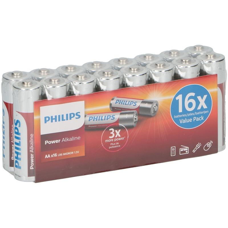 16x Philips power alkaline AA batterijen