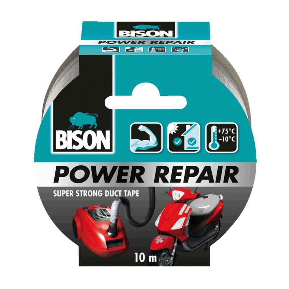 1x Bison power repair tape grijs 10 meter