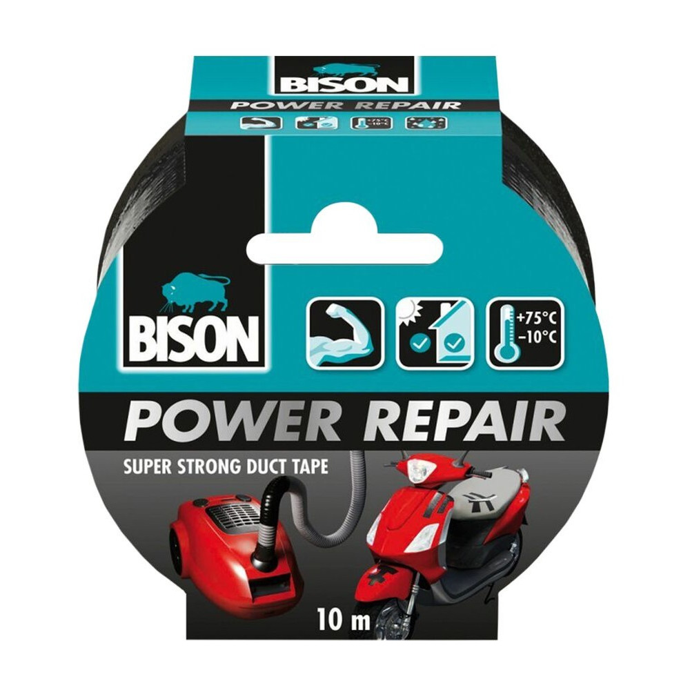 1x Bison power repair tape zwart 10 meter