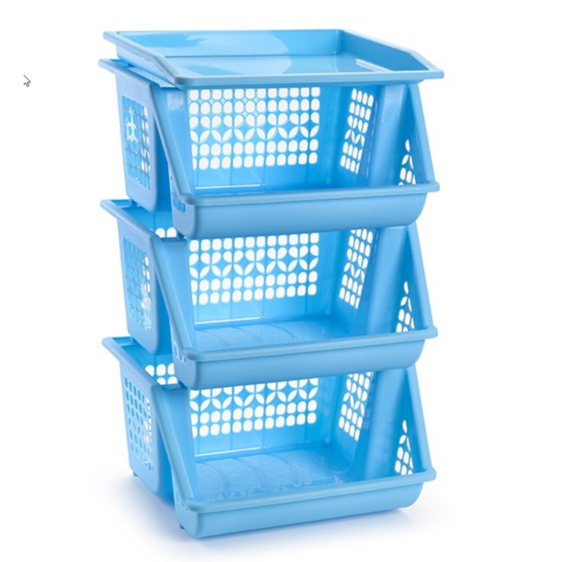 1x Blauwe opberg kratten-kasten-organizers 3 vakken 62 x 32 cm