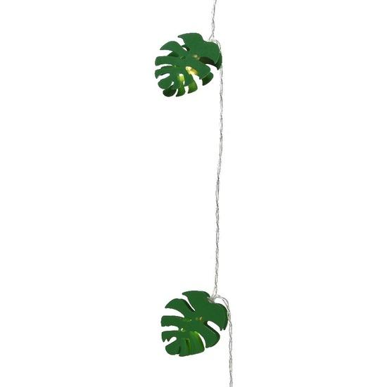 1x Feestverlichting LED groene bladeren 180 cm op batterijen