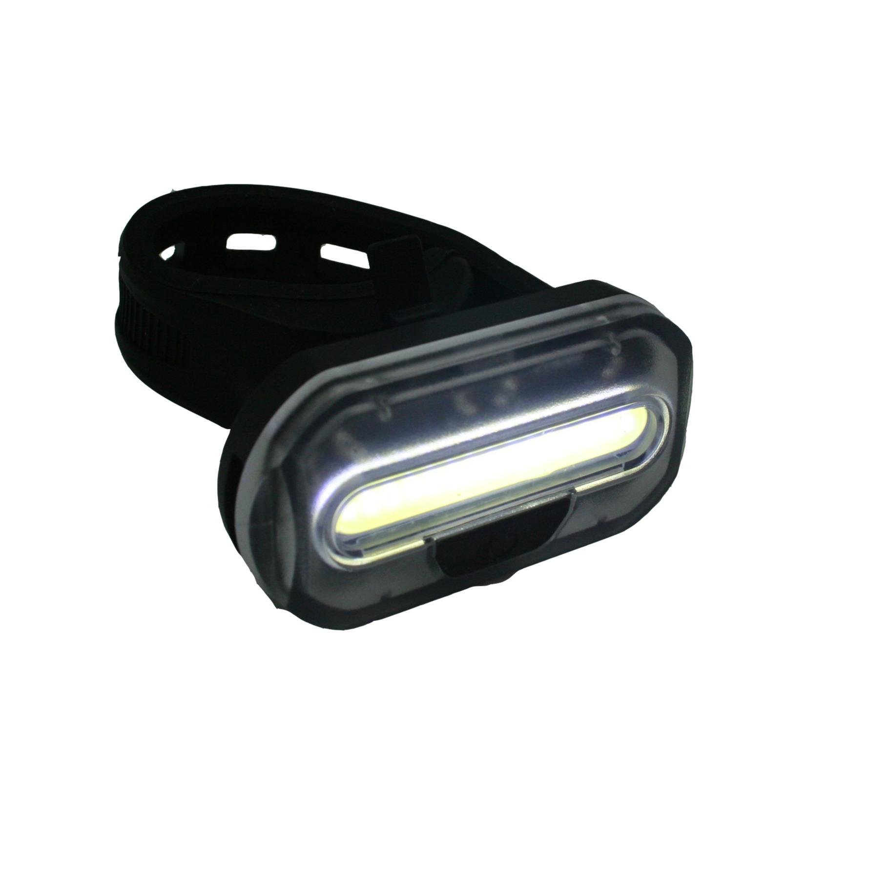 1x Fietskoplamp-batterij voorlicht-fietsverlichting COB LED met bevestigingsband