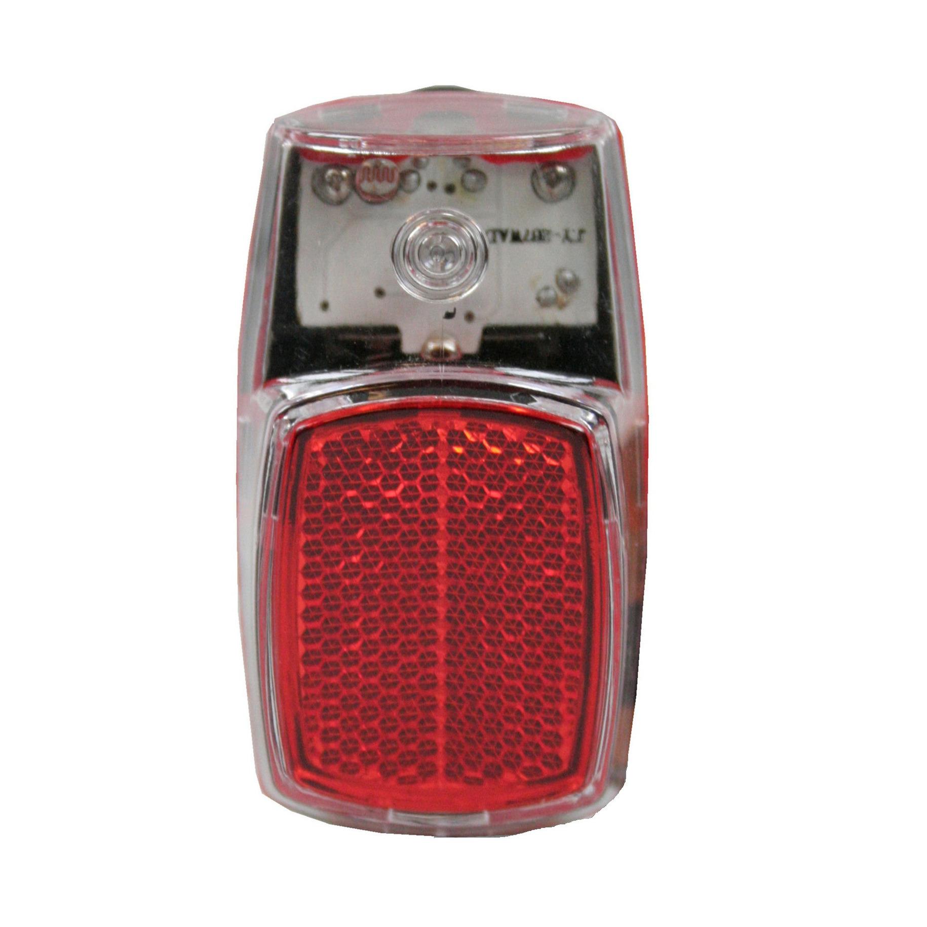 1x Fietsverlichting-achterlicht LED spatbordmontage met reflector 8 x 4 cm