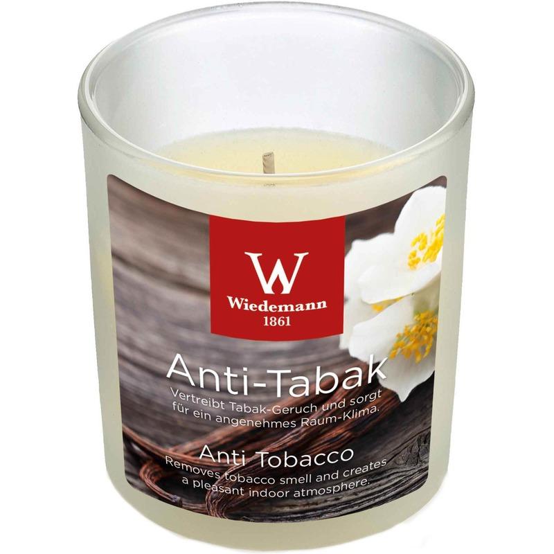 1x Geurkaars anti tabak-vanille in glazen houder 25 branduren