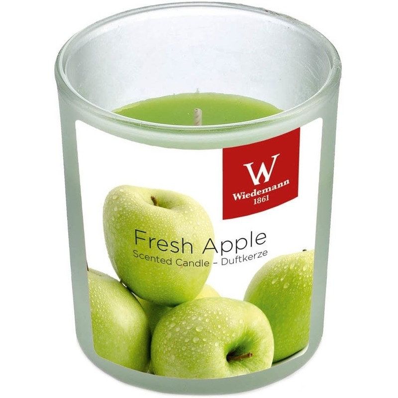 1x Geurkaars appel in glazen houder 25 branduren