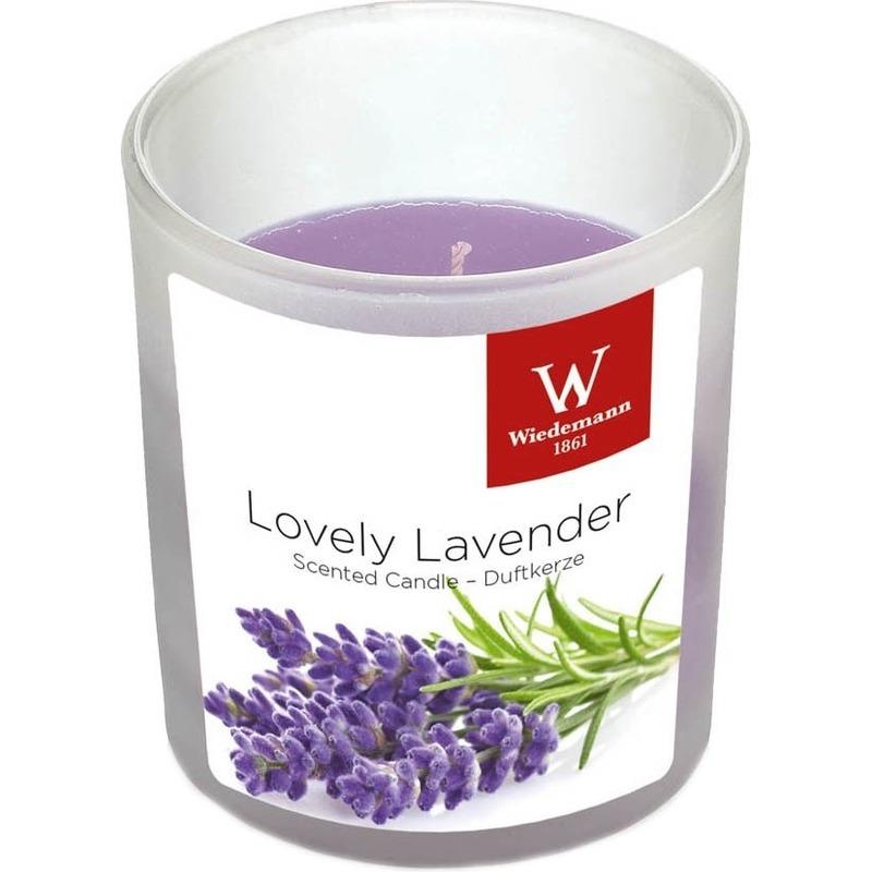 1x Geurkaars lavendel in glazen houder 25 branduren