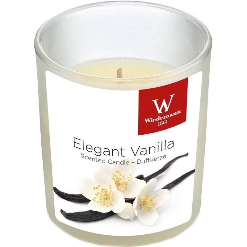 1x Geurkaars vanille in glazen houder 25 branduren