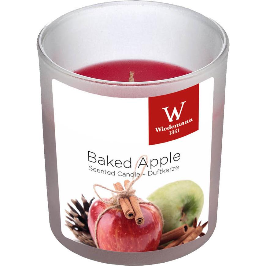1x Geurkaarsen gebakken appel in glazen houder 25 branduren
