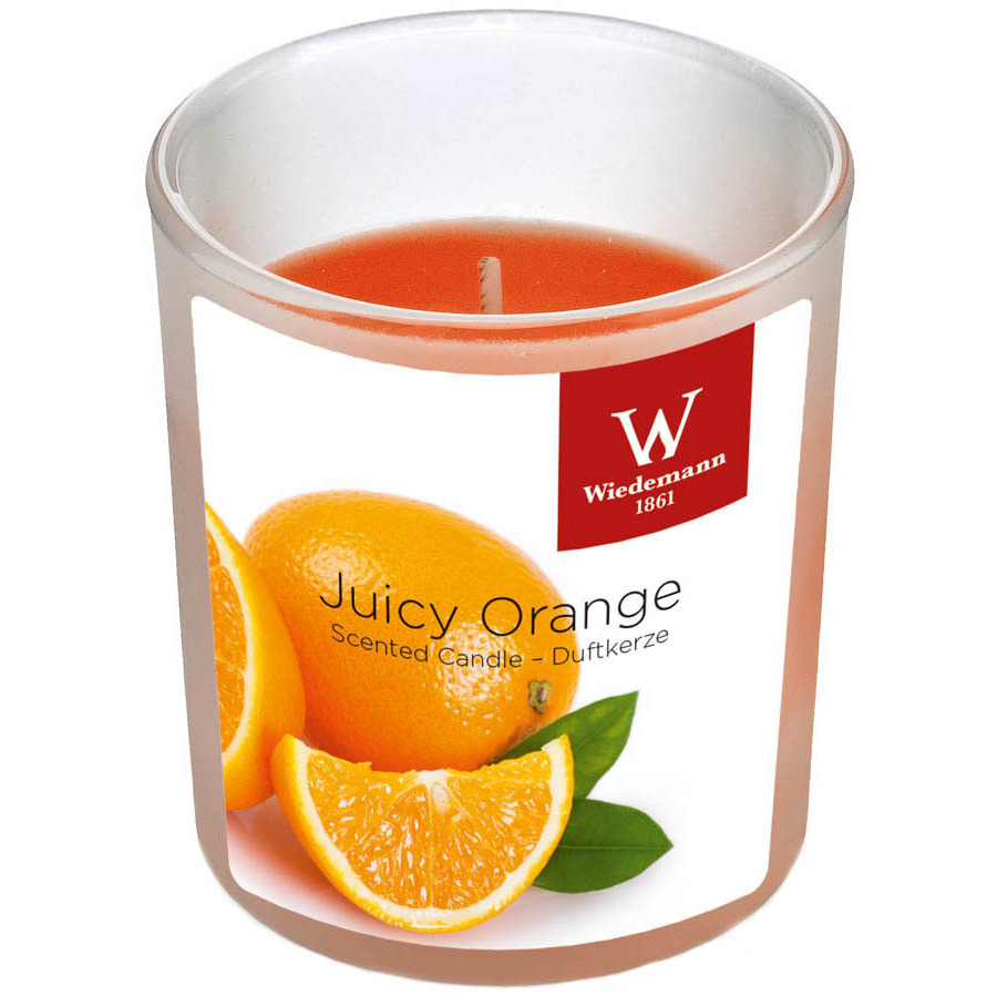1x Geurkaarsen sinaasappel in glazen houder 25 branduren